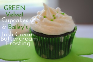 Green Velvet Cupcakes with Baileys Irish Cream Buttercream Frosting Desserts