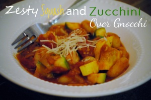 Zesty Squash and Zucchini over Gnocchi Main Dishes