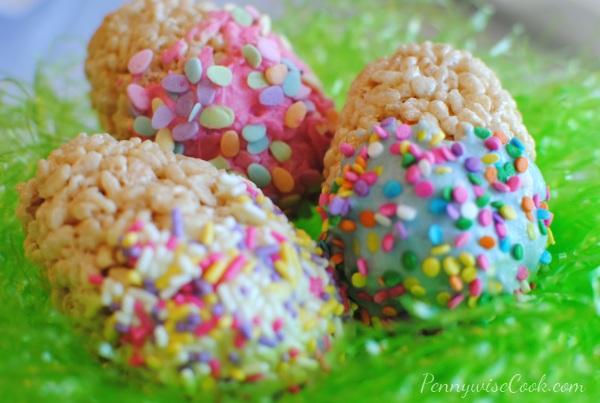 Rice Krispie Eggs 2 Rice Krispie Treat Speckled Eggs
