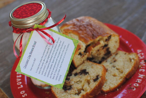 Chocolate Chip Banana Bread in a Jar 1 Chocolate Chip Banana Bread Gift Jars