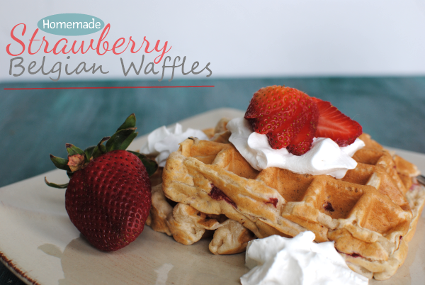 Strawberry Belgian Waffles 1 Homemade Strawberry Belgian Waffles
