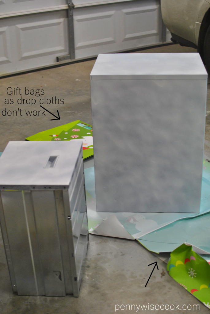 Gift Bags as drop cloths 685x1024 Filing Cabinet Makeover